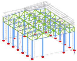 Belastung einer Halle in Stahlskelettbauweise