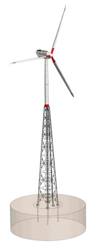 Hybridturm - Gittermast / Stahlrohrsektion